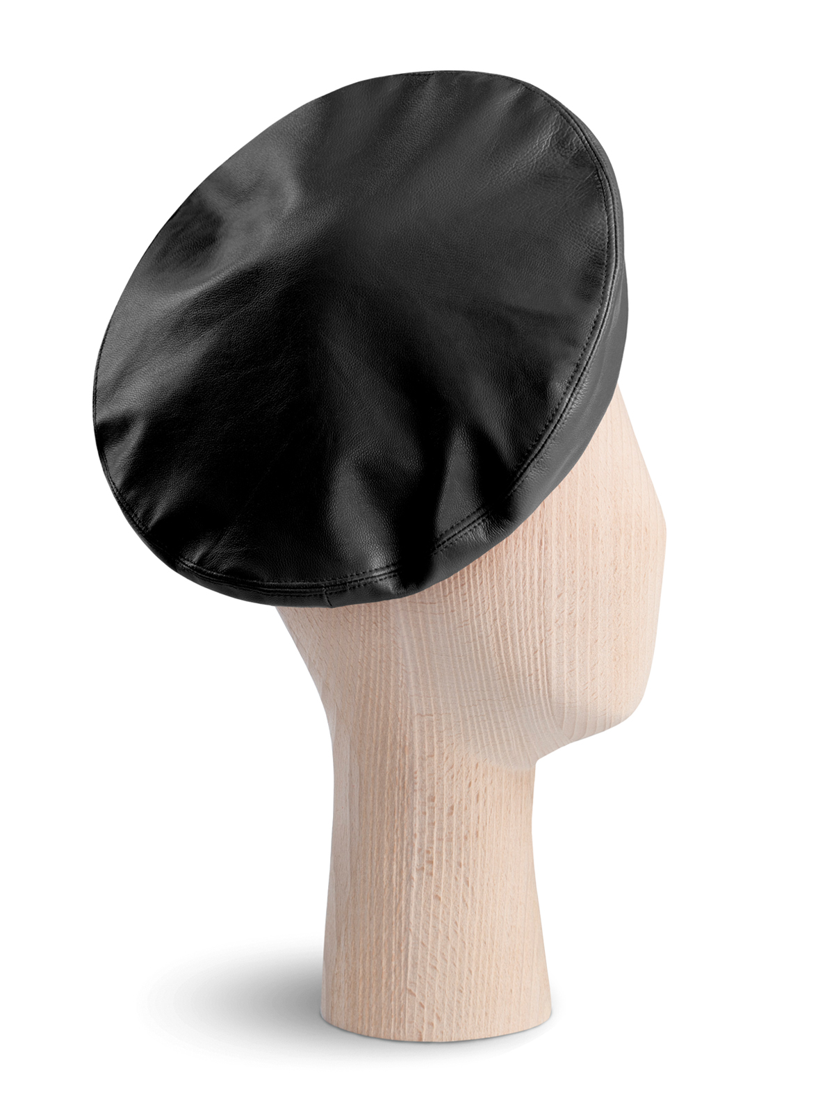 French Black Leather Beret