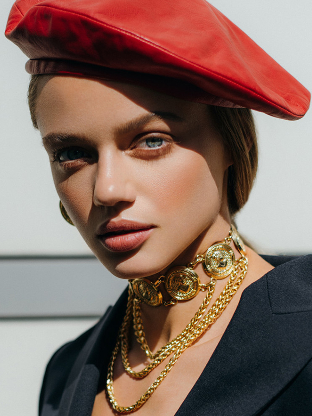 French Red Leather Beret