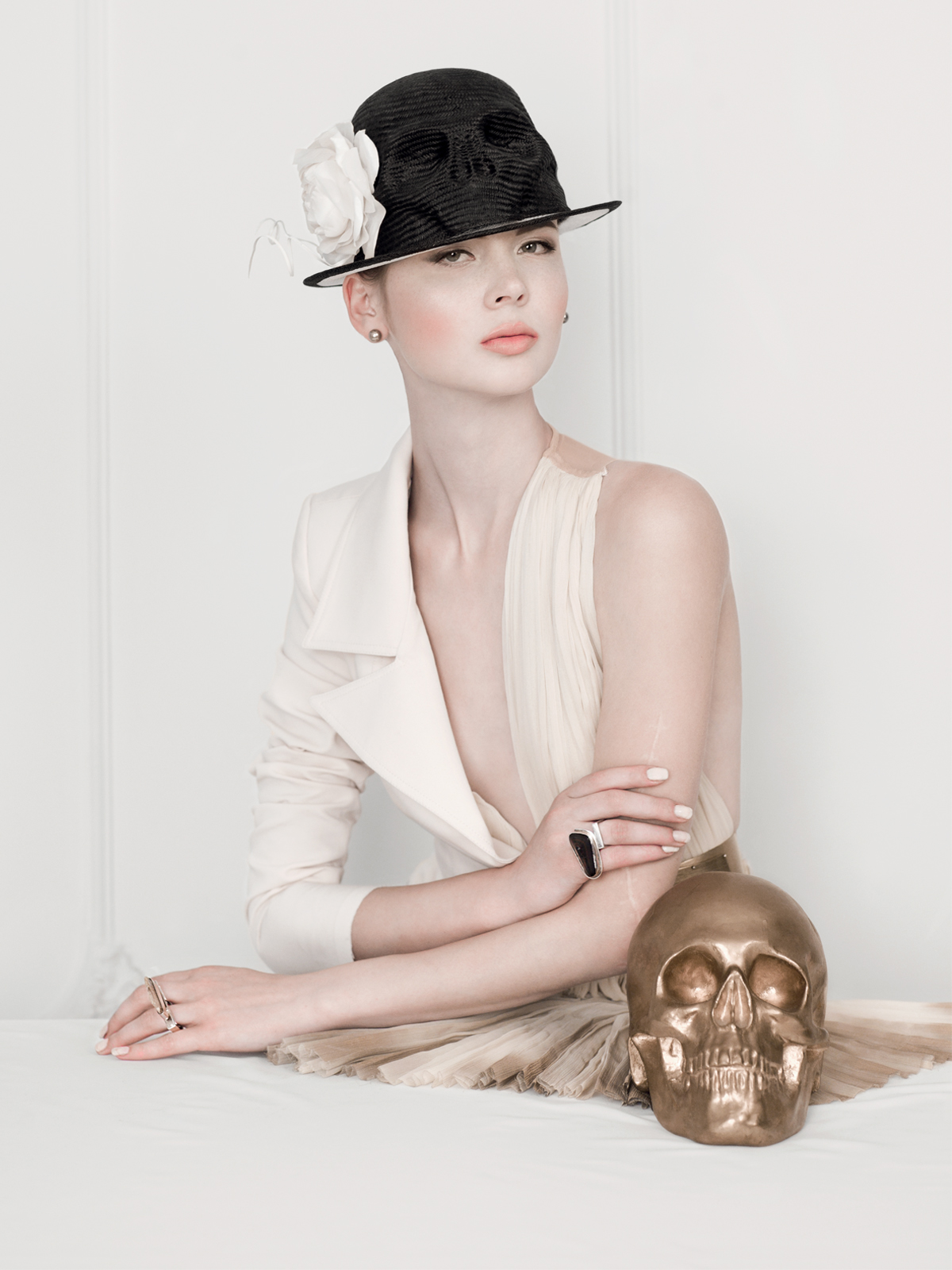 Light Skull Flower Hat